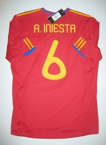 Adidas 2010 Spain Andres Iniesta Home Red Jersey Kit Shirt Espana