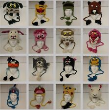 Hand Knitted 100% Wool Winter Beanie Hat with Cartoon and Animal Characters
