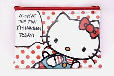 Brand New Hello Kitty Vinyl Zipper Bag Case Pouch Sanrio Kawaii Free Shipping
