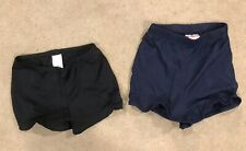 2 Pair Girls Cheer Shorts Black M 7/8 And Navy Blue Youth Large Euc