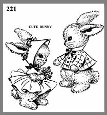 Cute Vintage Mail Order Stuffed Bunny Toy's W /Clothes Fabric Sew Pattern # 221