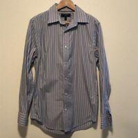 Banana Republic Blue Orange Long Sleeve Slim Fit Striped Button Down Shirt Size