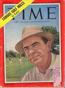 1954 (June 21) Time Magazine, Golf, Sam Snead ~ Famous Golf Holes in Color ~ Fr