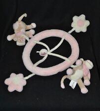 Peluche doudou mobile vache Lola NOUKIE'S écharpe rose crème fleurs TTBE