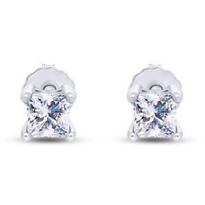 IGI Certifield 1/2 Ct Princess Natural Diamond Studs Earrings in 10K White Gold