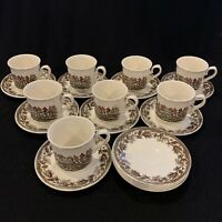 Set of Vintage English Churchill Fox Hunt 8 Tea Coffee Cups & 12 Saucers
