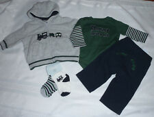 Gymboree Holiday Trains 0-3 month Pants NWOT Green Bodysuit Socks NWT Outfit Set