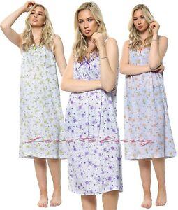 Ladies Sleeveless Nightie 100% Cotton Night Dress Lace Trim Nightgown Nightie.