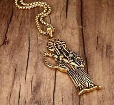 Stainless Steel Holy Saint Death Santa Muerte Skull Pendant Necklace Box Chain