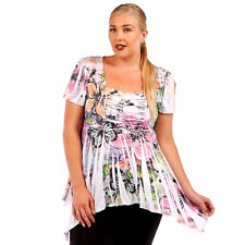 Womens Tye Dye Asym Sharkbite Hem Top FLOWER Yummy Plus Size 5X