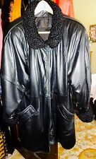 VTG~I. MAGNIN BLk Leather Jacket~For Fall~Lambswool Collar/Cuffs~Lambskin~Sz Sm
