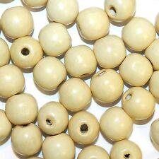 WXL740 Light Cream Brown 18mm Semi- Round Large Wood Beads 500-Grams (260 Beads)
