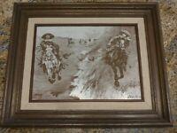 "FREDERIC REMINGTON 1887 INDIAN BURNING THE RANGE FIRE ETCHING ART WORK 14 X 17"""