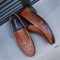 Mens Snakeskin Grain Leather Slip On Loafers Dress Formal Business Casual Shoes