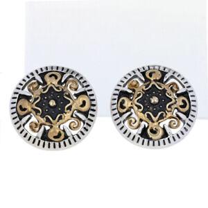 Relios Sterling Silver & Brass Earrings - 925 Pierced Round Studs