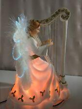 Angel Figurine Playing Harp with lights