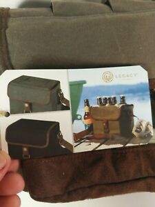 NWT LEGACY Picnic Time 6 beer bottle caddy integrated bottle opener wax canvas