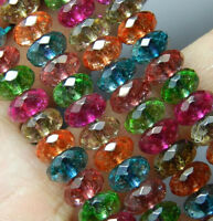Natural 5x8mm Faceted Multi-color Tourmaline Gemstone Abacus Loose Beads 15''