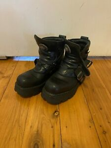 New Rock Block-heel In Metal-look Black Leather Platform Ankle Boots