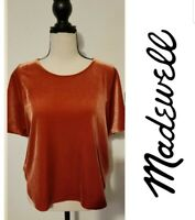 Womens Madewell Orange Velvet Butterfly Top Blouse Shirt Size Small NWT