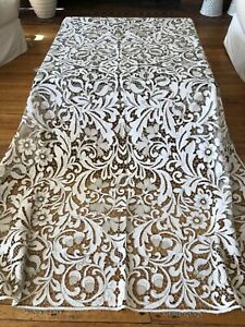 ANTIQUE LINENS- SUPERB HAND MADE MADEIRA TABLECLOTH WITH NAPKINS