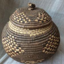 Vintage Round Woven Raffia Seagrass Boho Tiki Lidded Sewing Storage Basket 8 in