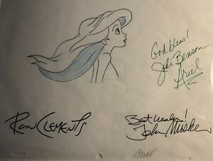 LITTLE MERMAID ARIAL DRAWING SIGNED BY JODI BENSON, JOHN MUSKER, RON CLEMENTS