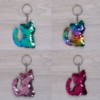 Cat Keychain Glitter Sequins Key Ring Women Charms Car Bag Accessories  9k