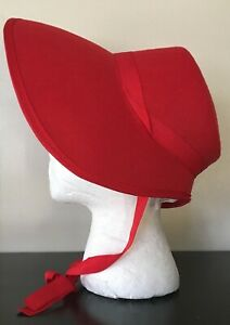 Red Felt Bonnet Hat Adult Costume Accessory NEW Dickens Victorian