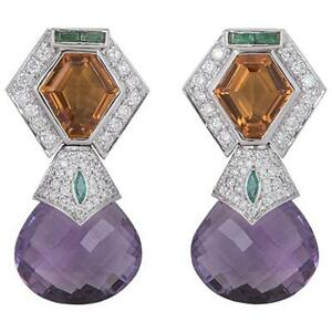 Sterling 925 Real Silver Pair Of Cubic Zirconia, Amethyst and Citrine Earrings