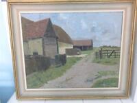 Öl auf Brett Malerei 'Loch Farm' Große Leighs-James Kidwell Popham c1884-1966