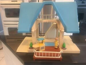 Vintage Little Tikes Doll House Blue Roof 2 Story - MUST SEE