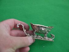 More details for excellent rare antique 1895c sterling silver miniature christmas sleigh 25grm