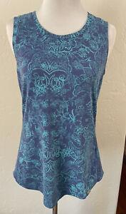 Ladies Title Nine Blue Green Floral Tank Top Shirt Medium M Sleeveless