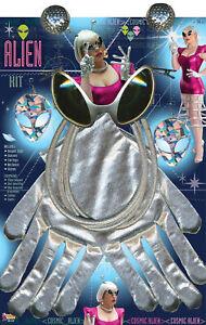 Retro Cosmic Alien Kit Bopper Clips Sunglasses Earring Gloves Halloween Set