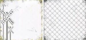 1 sheet Scrapbook Paper ROAD SIGNS-RAILROAD CROSSING Reminisce RSI-002 DS