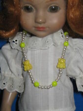Doll Necklace-Pearls w/ Yellow Beads & Teddy Bears