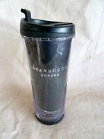"Starbucks Black & Silver Insulated Travel Coffee Mug  8""  16 fl oz  2007"