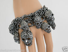 Shay gunmetal swarovski crystal skull charms multi sizes hanging bracelet