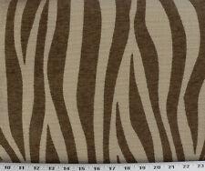 Drapery Upholstery Fabric Chenille Animal Print Zebra Stripes - Chocolate / Tan