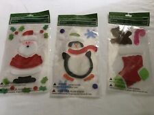 Holiday Time Snowman ~ Penguin ~ Christmas Stocking ~ Window Gel Clings Winter