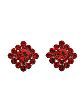 Square Light Siam Red Swarovski Crystal Elements Titanium Post Earrings