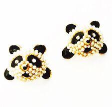 USA EARRING Rhinestone crystal Pearl  Animal Panda Unique Gold