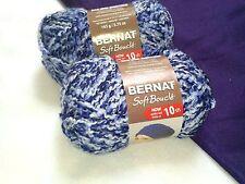 NEW Bernat Soft Boucle Yarn (2) 5.75 oz Skeins Same Dye Lot DENIM BLUE