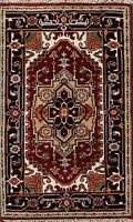 Traditional Geometric Heriz Serapi Oriental Area Rug Handmade Wool Carpet 3x4 ft