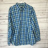 Alan Flusser Mens Sz L Blue Green Plaid Shirt Long Sleeve Button Up 100% cotton