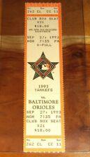 1993 Baltimore Orioles Season CLUB BOX FULL Ticket Harold Baines Home Run HR 260
