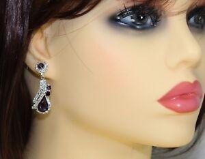 Elegant Purple Teardrop Dangle Crystal/ Rhinestone Stud Earrings