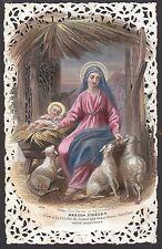 Bouasse Lebel 1020 19.Jh. Hl. Maria Weihnachten Spitzenbild Natale Jesuskind