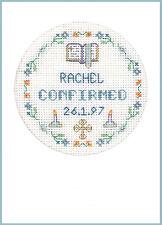 CROSS Stitch greeting card per una conferma in blu-KIT COMPLETO su 16 AIDA